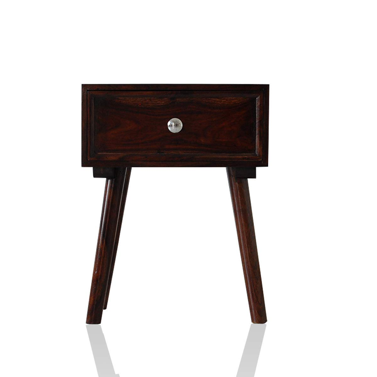 Solid Wood Sheesham Bedside Table With One Drawer For Bedroom Living Room Brown