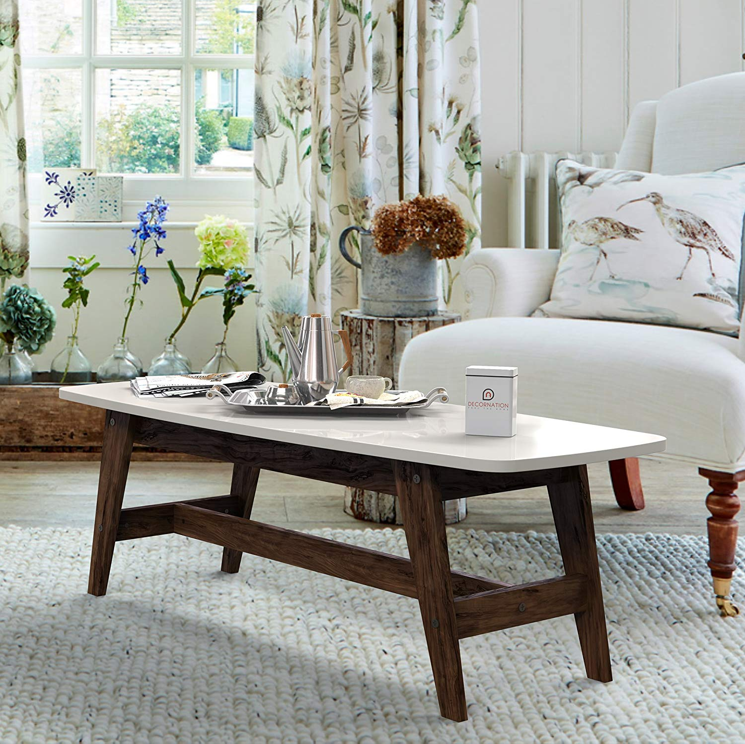 serene wooden coffee table center table white