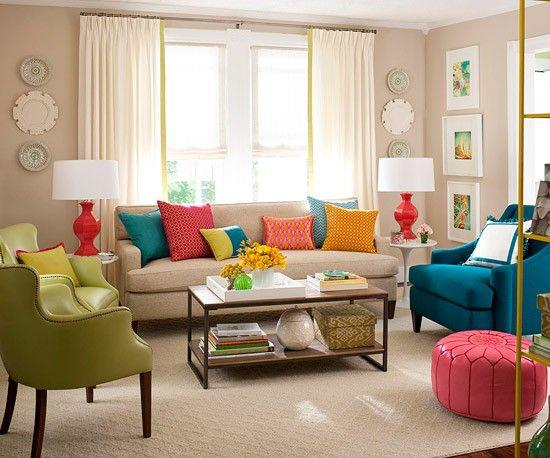 very cute colorful living room