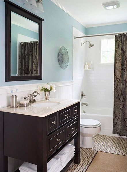 blue and small bathroom design with modern look