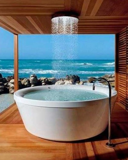 modern bathroom design with ocean view