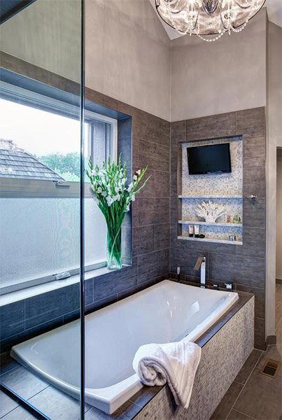 modern bathroom with television