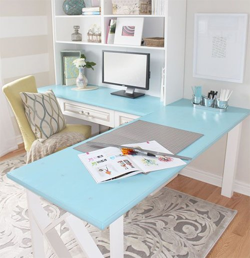 pastel colored home office