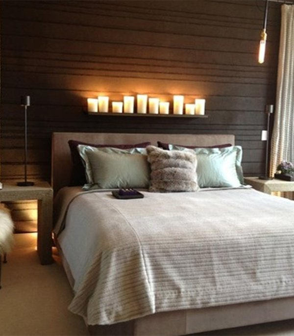 romantic bedroom with candles