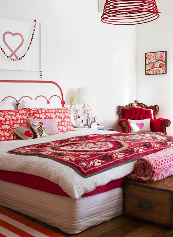 romantic white and red bedroom design for couples