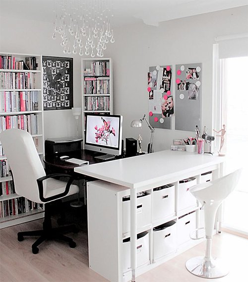 white and pink working space design