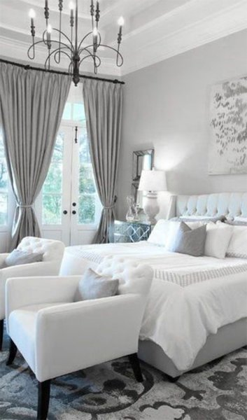 grey and white contemporary bedroom Modern Bedrooms Black to White shading with a Red touch