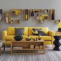 Yellow - Gray Living Room Design Ideas