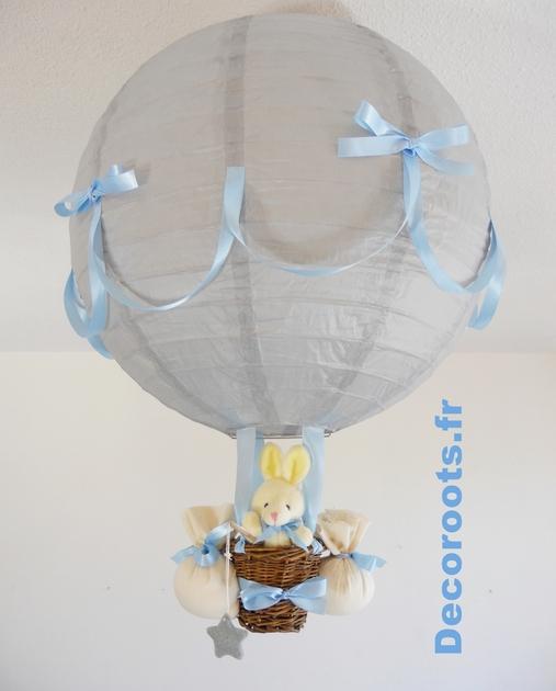 Lampe montgolfire garon pcheur dtoiles gris bleu ciel  Enfant bbLuminaire enfant bb