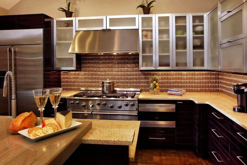 brick backsplash in kitchen bridge faucets cabinet design ideas