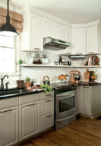 kitchens - anne turner carroll kitchen gray kitchen cabinets white cabinets black granite countertops floating shelves bamboo roman shades  anne
