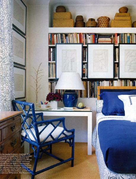 bedrooms - bedroom Chinese Chippendale faux bamboo blue chairs blue lamp blue bedding  From Elle Decor  blue faux bamboo chair, white desk, art,
