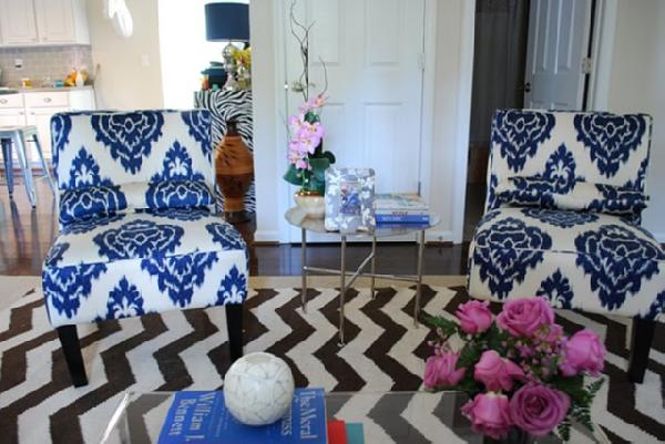 living rooms - West Elm Zigzag Rug Nate Berkus Morrocan table Abstract Print Slipper Chair blue ikat chairs  johnsjournal-maria.blogspot.com