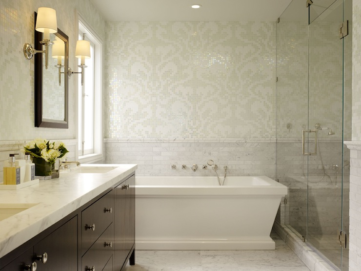 bathrooms - white ivory cream gray mosaic tiles damask walls tub white carrara marble subway tiles backsplash frameless glass shower beveled mirror sconces espresso brown bathroom vanity marble countertops marble floor tiles master