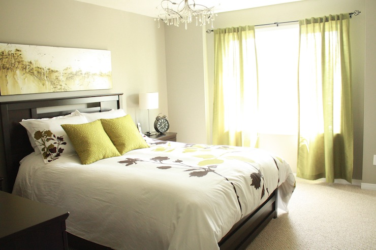 bedrooms - Sherwin Williams - Gateaway gray - gray Bed side tables duvet set curtains lamps painting crystal chandelier  Pamela Pryce master