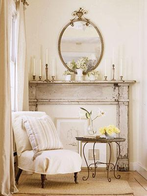 living rooms - mantle mirror  faux fireplace Vintage fireplace, slipcovered slipper chair with caster legs and sisal rug