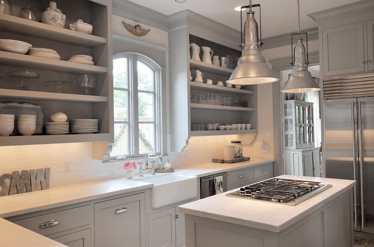 kitchens - Benjamin Moore - Fieldstone - gra kitcheb cabinets open shelves farmhouse sink subway tiles backsplash calcutta marble countertops island pendants polished nickel hardware faucet