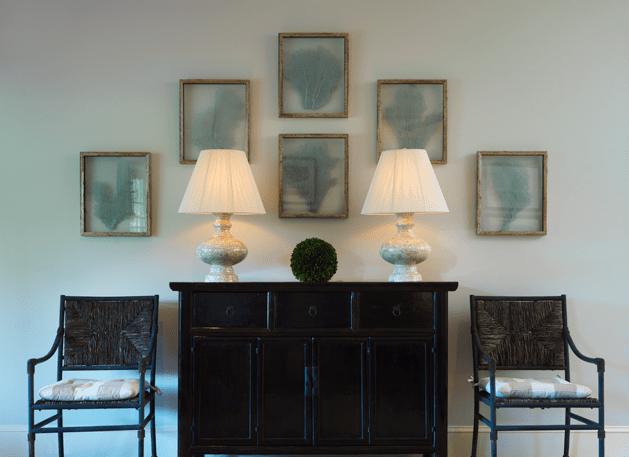 entrances/foyers - blue seafan sea fan art gallery asian black console table woven chairs  Ken Gemes.  Asian black cabinet, lamps, woven chairs