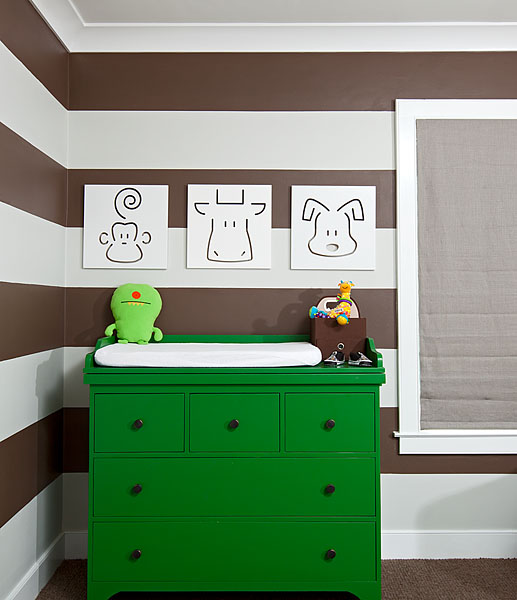 nurseries - green dresser spot on square art white brown horizontal painted walls  Green dresser adds pop to the neutral colored room.  kelly