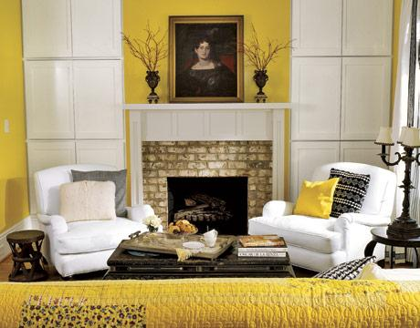 living rooms - yellow black white b&w  Yellow and black, but I like how it's simple and streamlined.