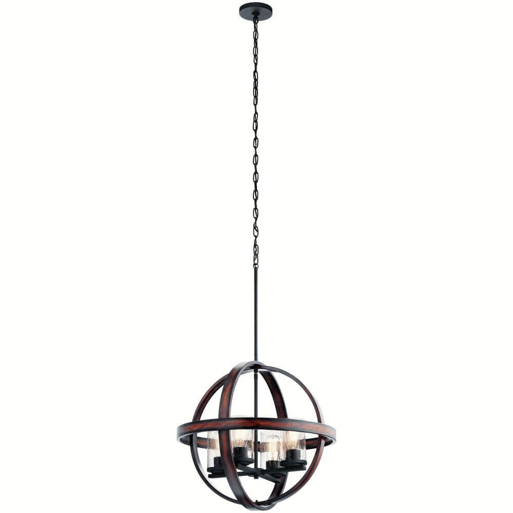 4 Light Distressed Black-Faux Aged Wood Orb Pendant with