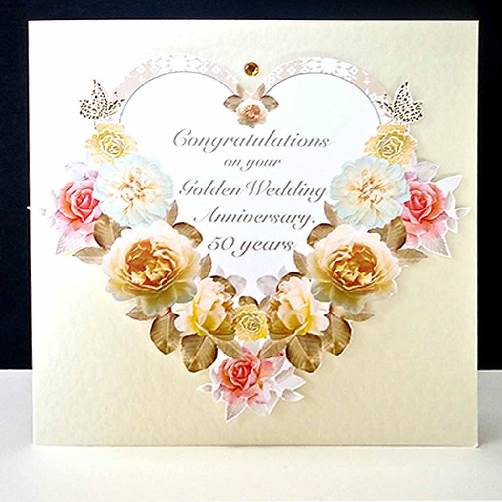 Antique Floral Heart  Handmade Golden Wedding Anniversary
