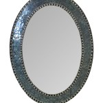 32 5 X24 5 Oval Frame Crackled Glass Mosaic Decorative Vanity Mirror In Jewel Tone Colors By Decorshore Black Gray