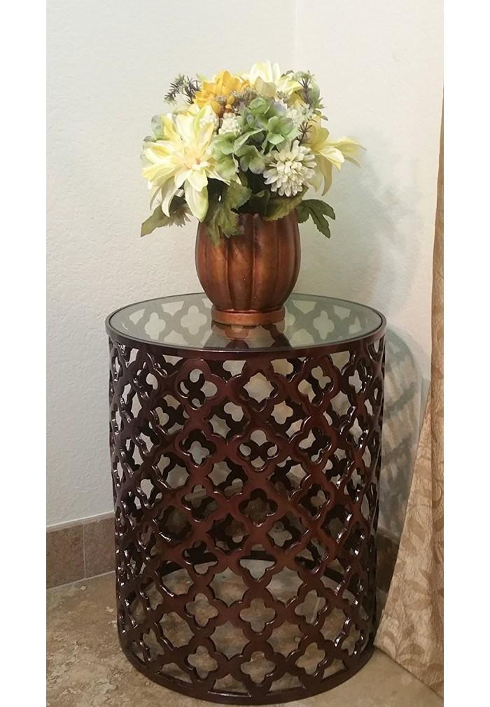 metal top kitchen table shelves buy decorshore aluminum bronze lattice accent online ...