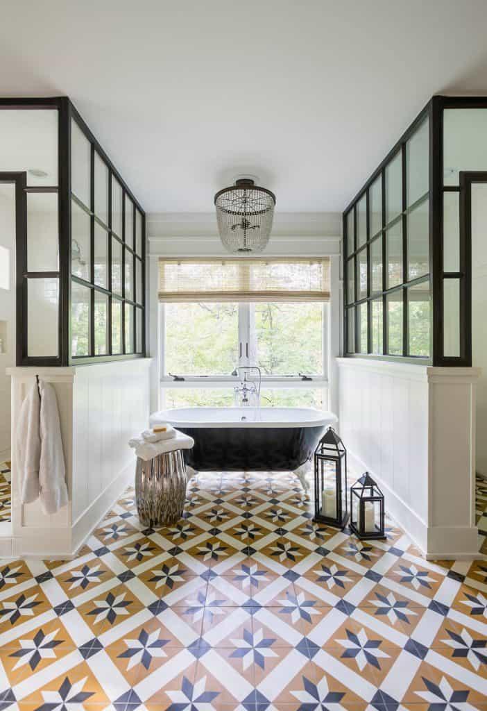 you paint vinyl flooring in a bathroom