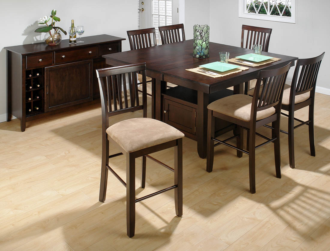 counter height chairs with back seat cushions for kitchen bakery s cherry 7 piece dining set slat stools 373 55b 55t 6x373 bs711kd