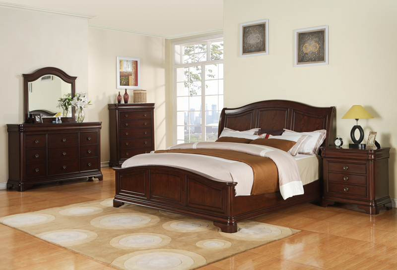 cameron bedroom set (dark cherry finish) - [cm750qb] : decor south