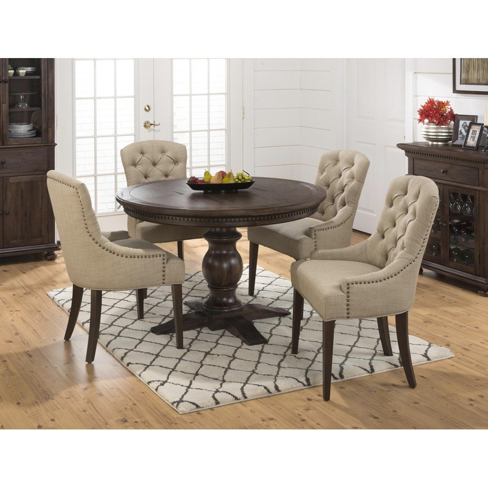Geneva Hills Round To Oval 5 Piece Dining Set With Upholstered Side Chairs 678 60B678 60T