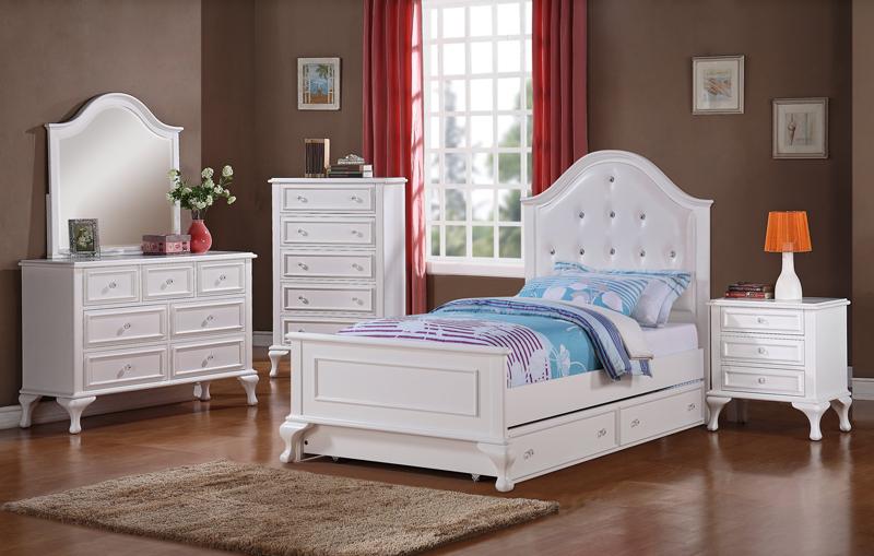 Jesse Trundle Bedroom Set White Finish JS700TB Decor South