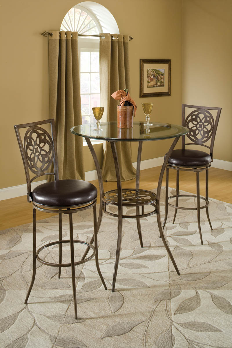 Marsala Bar Height Bistro Dining Three Piece Set Gray