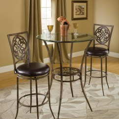 Pub Table And Chairs 3 Piece Set 2 Chicco Polly Magic Highchair Toys R Us Marsala Bar Height Bistro Dining Three (gray & Rust Highlights) - [5435ptbs] : Decor South