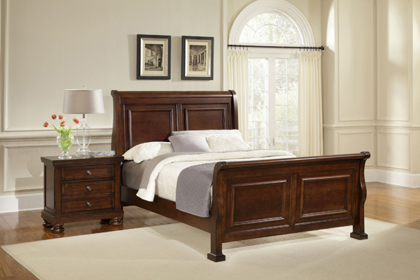 Reflections Sleigh Bedroom Set Dark Cherry Finish  Decor South