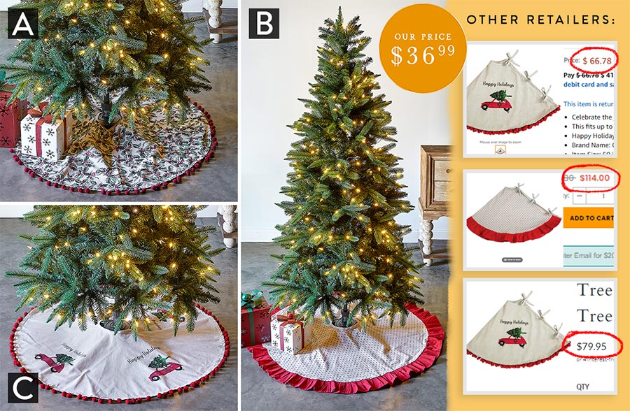 Classic Farmhouse Christmas Tree Skirt, Pick Your Style