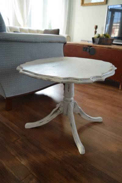 Table  caf shabby chic blanc gris et bois
