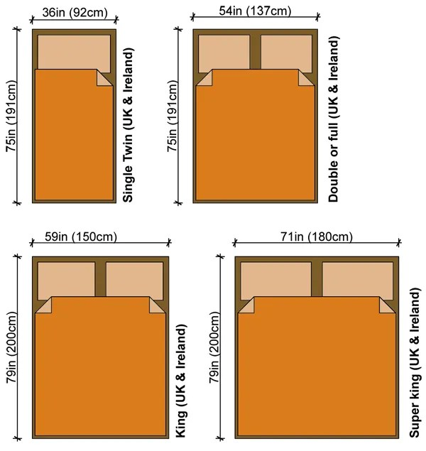 Bed Sizes Uk Measurement Dimensions
