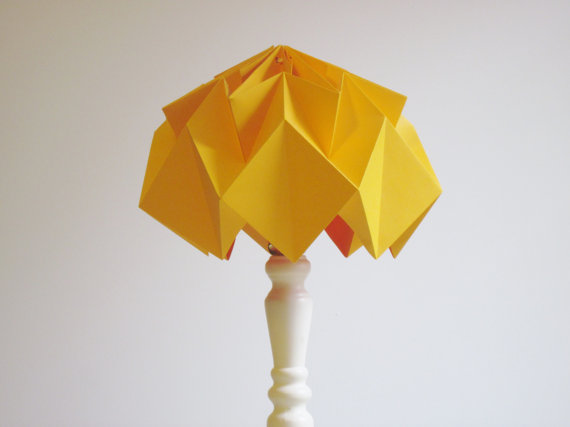 Origami paper lampshade, folded paper, folding paper design