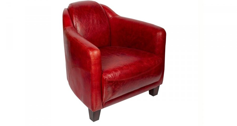 fauteuil club cuir rouge alabama