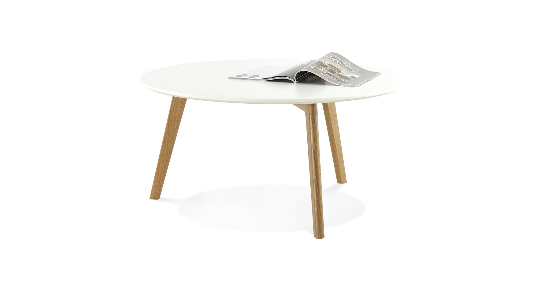 Table basse ronde diamètre 90 cm blanche design scandinave