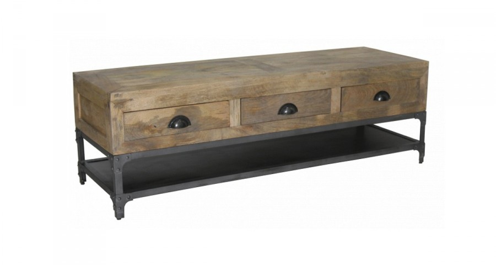 meuble tv industriel en bois et metal hopwood