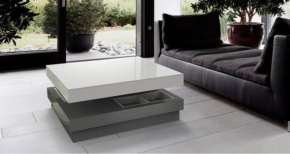 table basse coulissante en bois et verre laque mcpherson