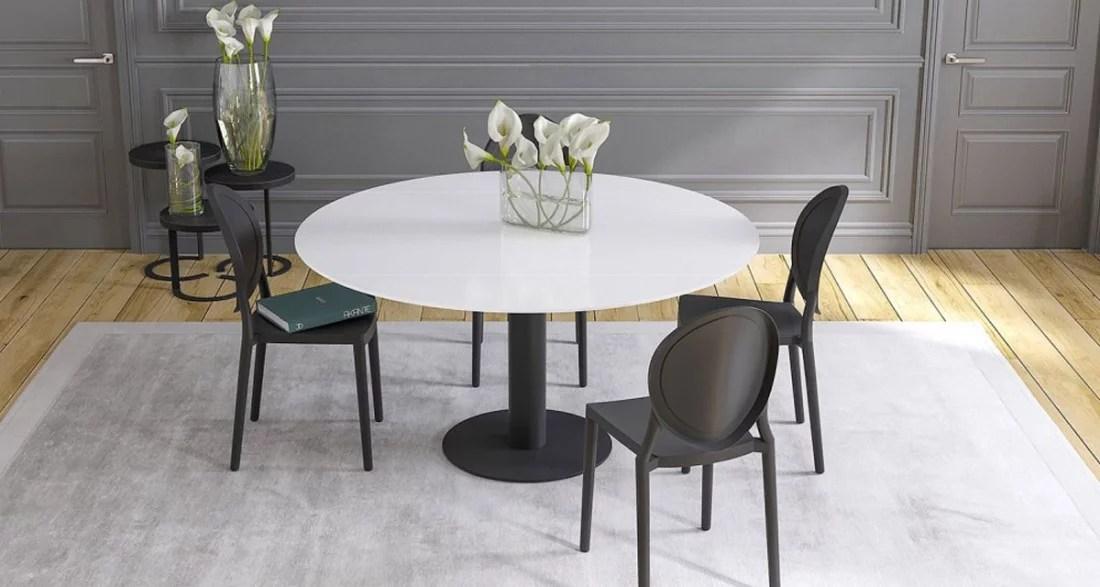 table repas ronde a rallonges retractables onyx 6 coloris
