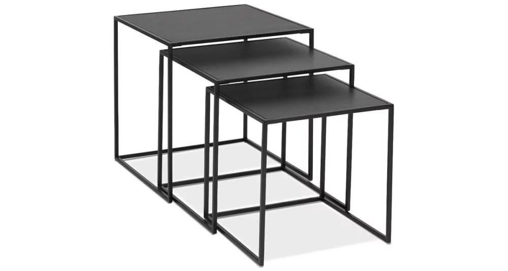 tables basses gigognes en metal et bois noir raven