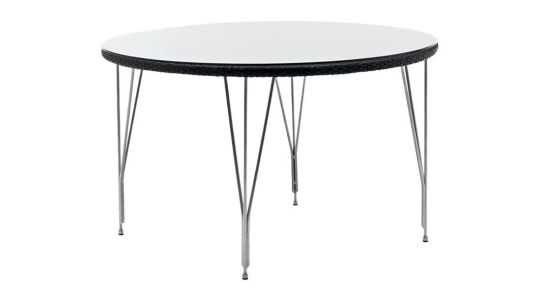 Table Jupiter ronde outdoor résine tressée et pieds métal