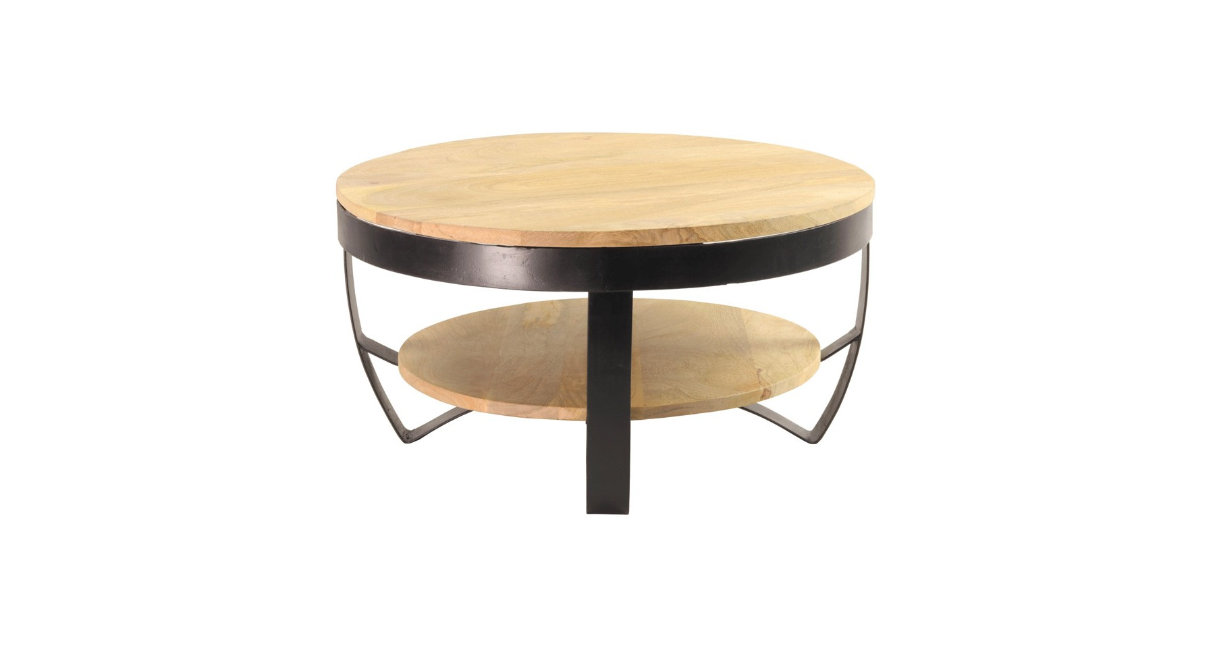 table basse ronde industrielle bois et metal marianna