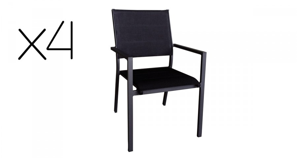 lot 4 chaises empilables alu textilene balogna