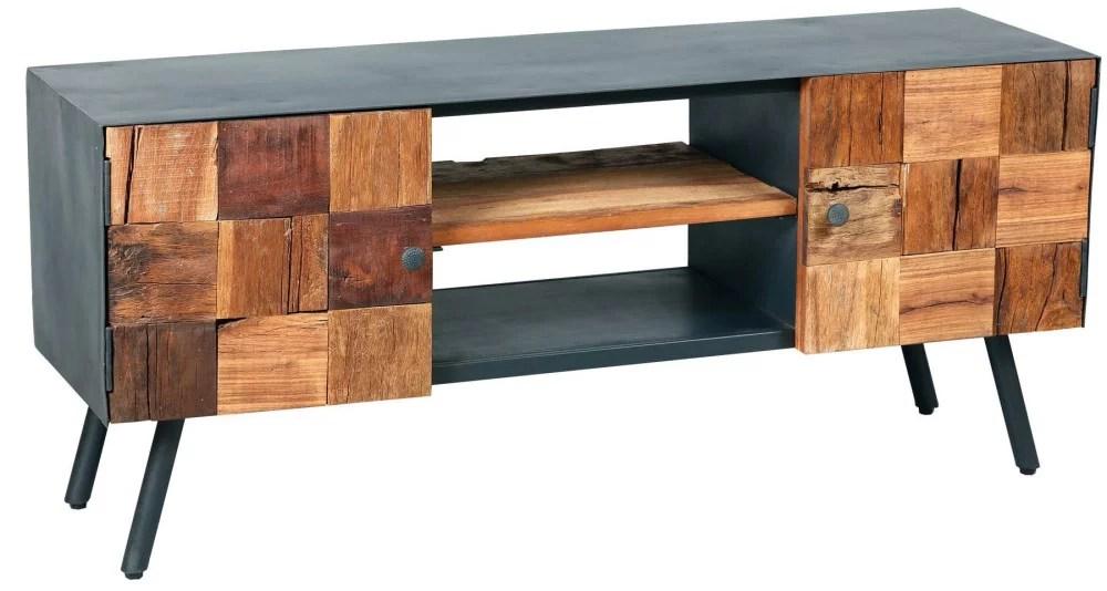 meuble tv exotique bois et metal vinted